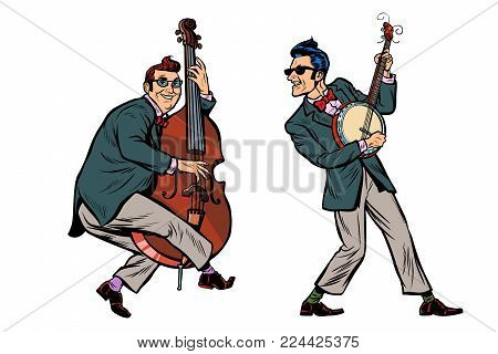 rockabilly jazz musicians, double bass and banjo. isolated on white background. Pop art retro vector illustration comic cartoon hand drawing