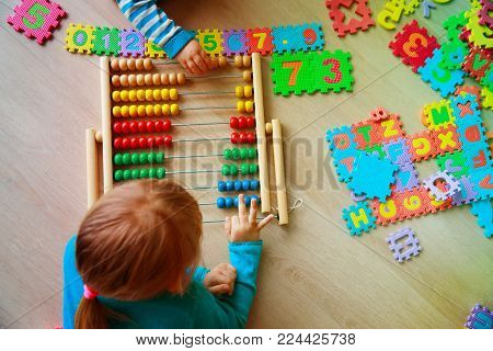 kids learning numbers, abacus calculation, education concept