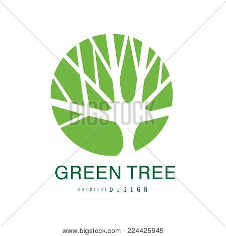 Green tree logo original design, eco and bio badge, abstract organic design element vector illustration isolated on a white background