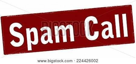 Rubber stamp with text spam call inside, vector illustration