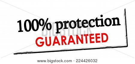 Rubber stamp with text one hundred percent protection guaranteed inside, vector illustration