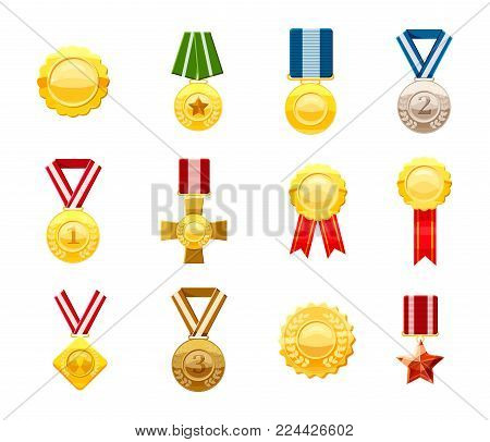 Gold medal icon set. Cartoon set of gold medal vector icons for web design isolated on white background