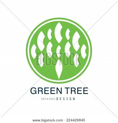 Green tree logo original design, green eco and bio circle badge, abstract organic element vector illustration isolated on a white background