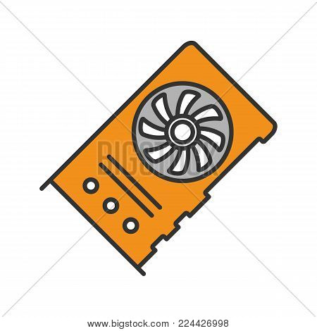 Graphic card for mining business color icon. Connected video cards. Cryptocurrency gpu mining farm. Isolated vector illustration