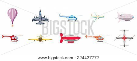 Airship icon set. Cartoon set of airship vector icons for web design isolated on white background