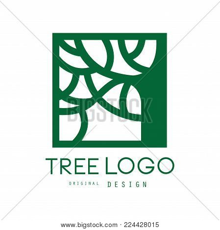 Green tree logo original design, green eco square badge, abstract organic element vector illustration isolated on a white background
