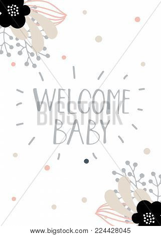Baby shower girl and boy posters, vector templates. Vintage style with leaves, flowers, lettering. Modern and trendy cards with hand drawn text and elements on white background