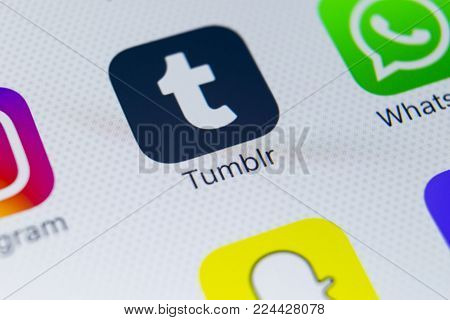 Sankt-Petersburg, Russia, January 31, 2018: Tumblr plus application icon on Apple iPhone 8 smartphone screen close-up. Tumblr plus app icon. Tumblr is internet online social network