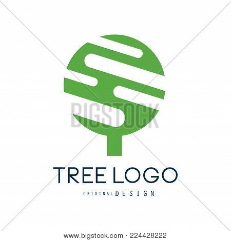 Tree logo original design, green eco badge, abstract organic design element vector illustration isolated on a white background