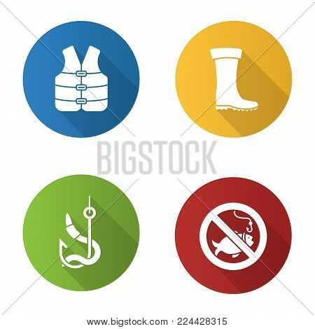 Fishing flat design long shadow glyph icons set. Life jacket, bait, rubber boot, no fishing sign. Vector silhouette illustration