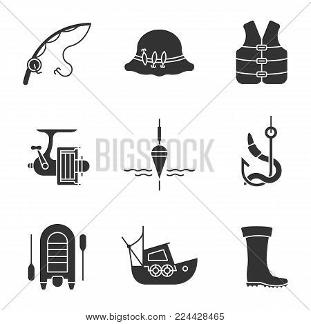 Fishing glyph icons set. Fisherman hat, life jacket, fishing float and hook, bait, motor boat, coble, rubber boot. Silhouette symbols. Vector isolated illustration