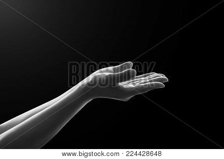 Prayer's hand praying for spiritual support, help and humanitarian aid concept ( woman's hand isolated on balck background with clipping path)