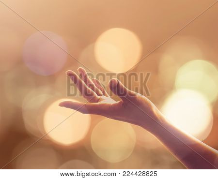 Women Prayer Hand Reaching For Spiritual Support, Aid, And For Holy Spirit Week, World Religion Day,