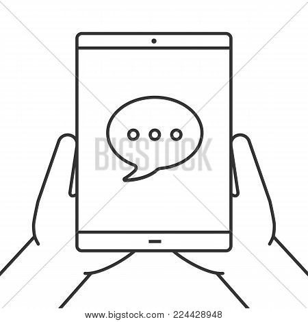 Hands holding tablet computer linear icon. Chatting. Messenger. Thin line illustration. Tablet computer with speech bubble. Contour symbol. Vector isolated outline drawing