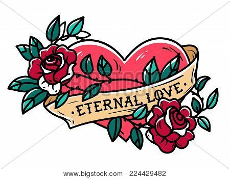 Heart entwined in climbing rose tattoo. Heart entwined in ribbon. Tattoo heart with ribbon and roses. Old school styled. Ribbon with lettering Eternal love.
