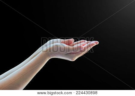 Pray for support concept with Isolated female empty open hand with palm raised upward