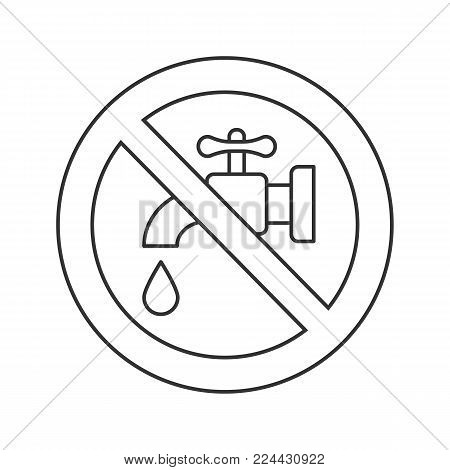 Forbidden sign with faucet linear icon. Water resources saving. Thin line illustration. No drinking water. Stop contour symbol. Vector isolated outline drawing