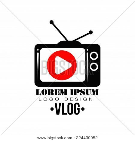 Original label with red play button on retro TV screen. Logo for your Youtube channel. Concept of web television. Simple flat icon with place for text. Vector illustration isolated on white background