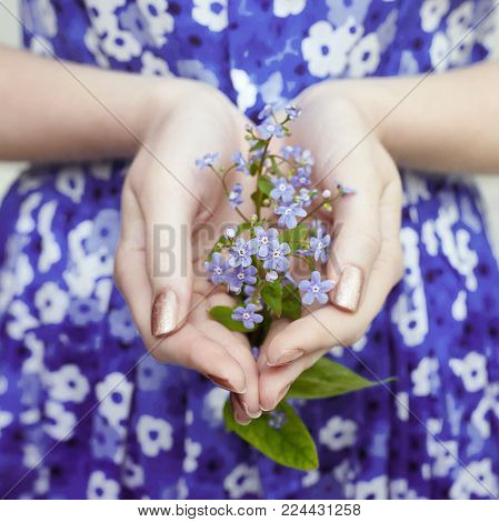 Art Blond Woman With Flowers On The Body In Underwear White. Cosmetics For Face And Body, Skin Care,