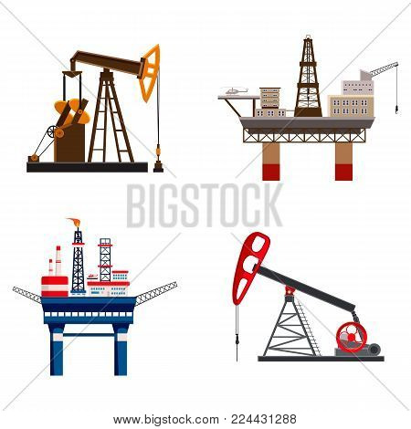 Petrol extraction icon set. Cartoon set of petrol extraction vector icons for web design isolated on white background