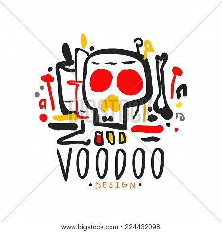 Original hand drawn Voodoo magic logo design template with mystic skull. Spiritual or cultural symbols. Traditional religion and mystical culture. Colorful vector illustration isolated on white.
