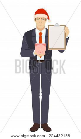 Businessman holding piggy bank and clipboard. Full length portrait of businessman in a flat style. Vector illustration.