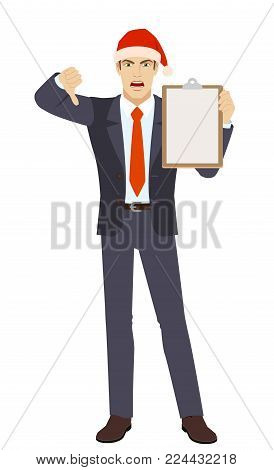 Businessman holding clipboard and showing thumb down. Full length portrait of businessman character in a flat style. Vector illustration.