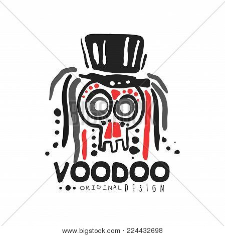 Original Voodoo magic logo template design with abstract skull with hair wearing hat. Spiritual or magical theme print. Religion and culture. Hand drawn mystical vector illustration isolated on white.
