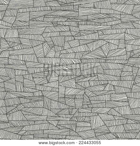 Seamless abstract vector background of shaded by lines shapes (drawn with ink).