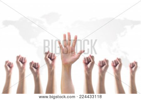 Empowering Women Power, Human Rights And Labor Day Concept With Strong Fist And Hands Raising Up On