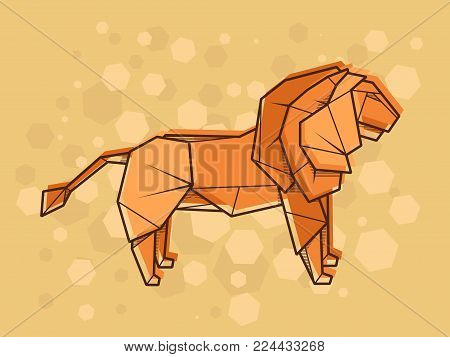 Vector abstract simple illustration drawing outline lion.