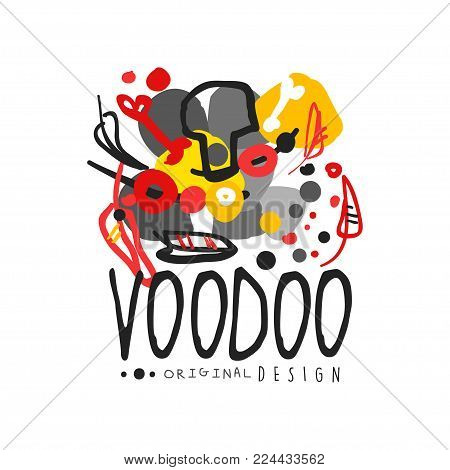 Abstract original kid s style drawing for Voodoo African and American magic logo or label design. Religion and culture theme print. Hand drawn colorful mystical vector illustration isolated on white.