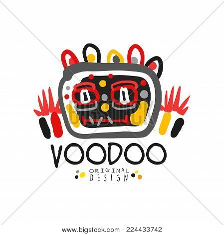Kid s style Voodoo magic logo original template design with abstract scary head and decoration. Magical or mystical theme print. Religion and culture. Hand drawn vector illustration isolated on white.