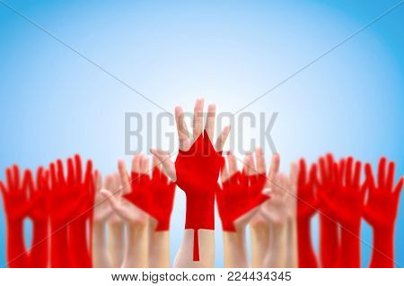 Canada National Flag Red Maple Leaf Pattern On People Hands Raising Up For Citizen Rights And Electi