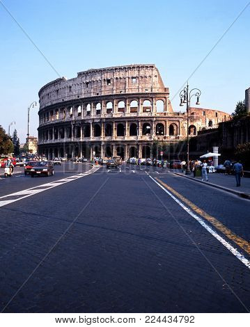 ROME, ITALY - SEPTEMBER 12, 1992 - View of the outside of the Roman Colosseum (originally the Flavian Amphitheatre), Rome, Italy, Europe, September 12, 1992.