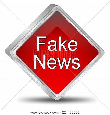 red Fake News button - 3D illustration