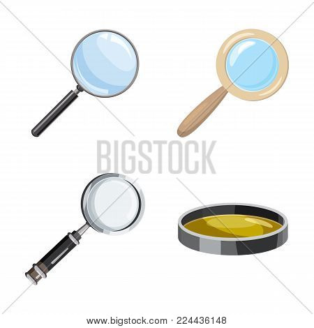 Magnify glass icon set. Cartoon set of magnify glass vector icons for web design isolated on white background