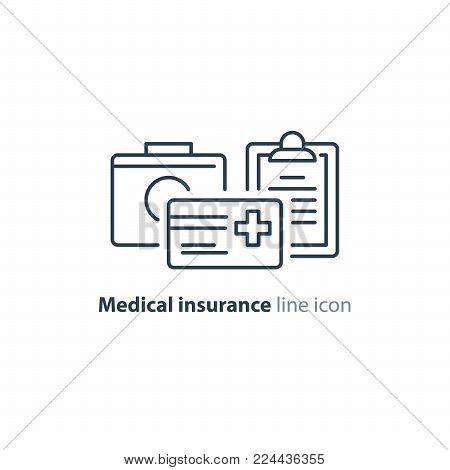 Medical insurance policy concept logo, medicine card, check up clip board, suite of services, vector line icon