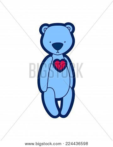 Vector teddy bear. Sad blue plush toy with broken heart. Illustration isolated on white background