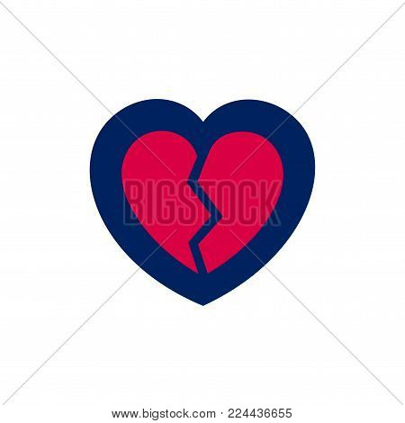 Broken heart icon, in blue and red colors on white