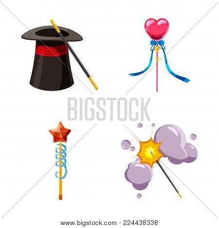 Magic wand icon set. Cartoon set of magic wand vector icons for web design isolated on white background