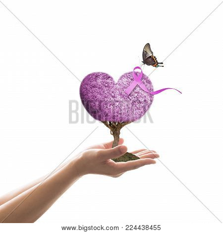 World Cancer Day And  National Cancer Survivors Month Concept With Lavender Purple Ribbon Awareness