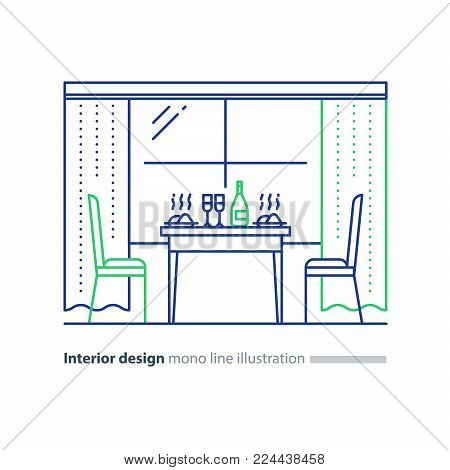 Dining room interior design, window with curtains, table with dishes and chairs, vector mono line illustration