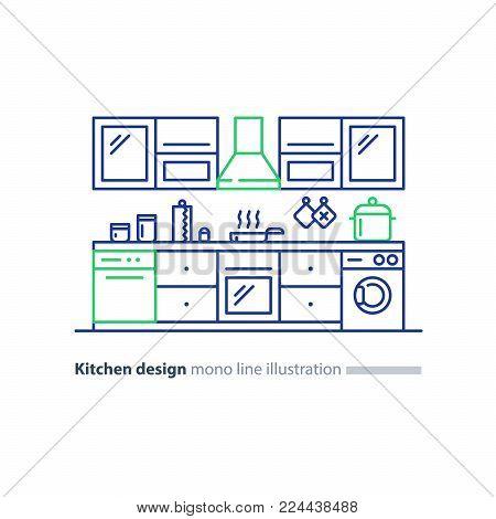 Kitchen design items and elements, combination idea, vector mono line illustration