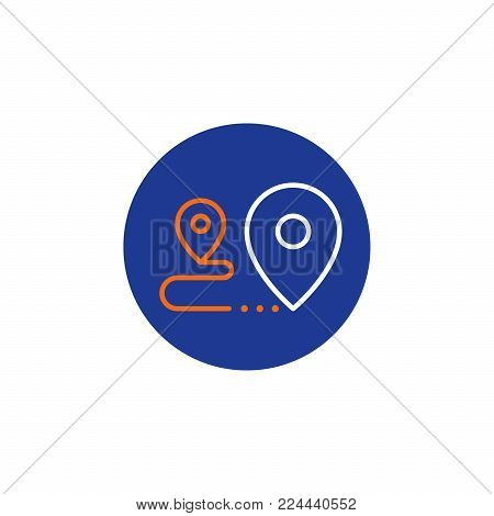 Shipping order and delivery services, relocation concept, transportation company logo elements, distribution line icon, tracking parcel outline vector