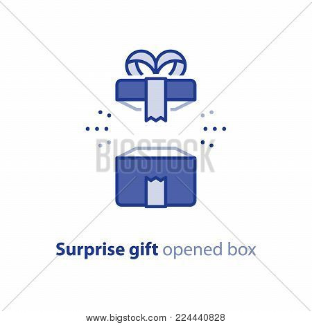 Surprise gift icon, opened blue box with ribbon, best present, super prize concept, special event celebration, receiving birthday gift, vector flat design illustration