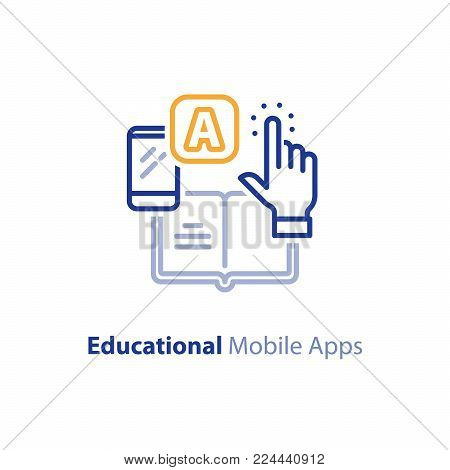 Educational mobile app concept, hand finger touching app smartphone button, opened book, vector line icon