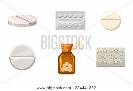 Pills icon set. Cartoon set of pills vector icons for web design isolated on white background
