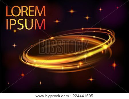 Light effect vector line gold circle. Glowing magic light fire flare ring trace. Glitter sparkle swirl trail effect on black background. Bokeh glitter round ellipse line with flying flash light EPS 10