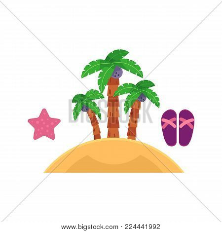 Set of summer beach vacation objects - island with palm trees, starfish and flip flops, flat cartoon vector illustration isolated on white background. Set of palm tree island, starfish and flip flops